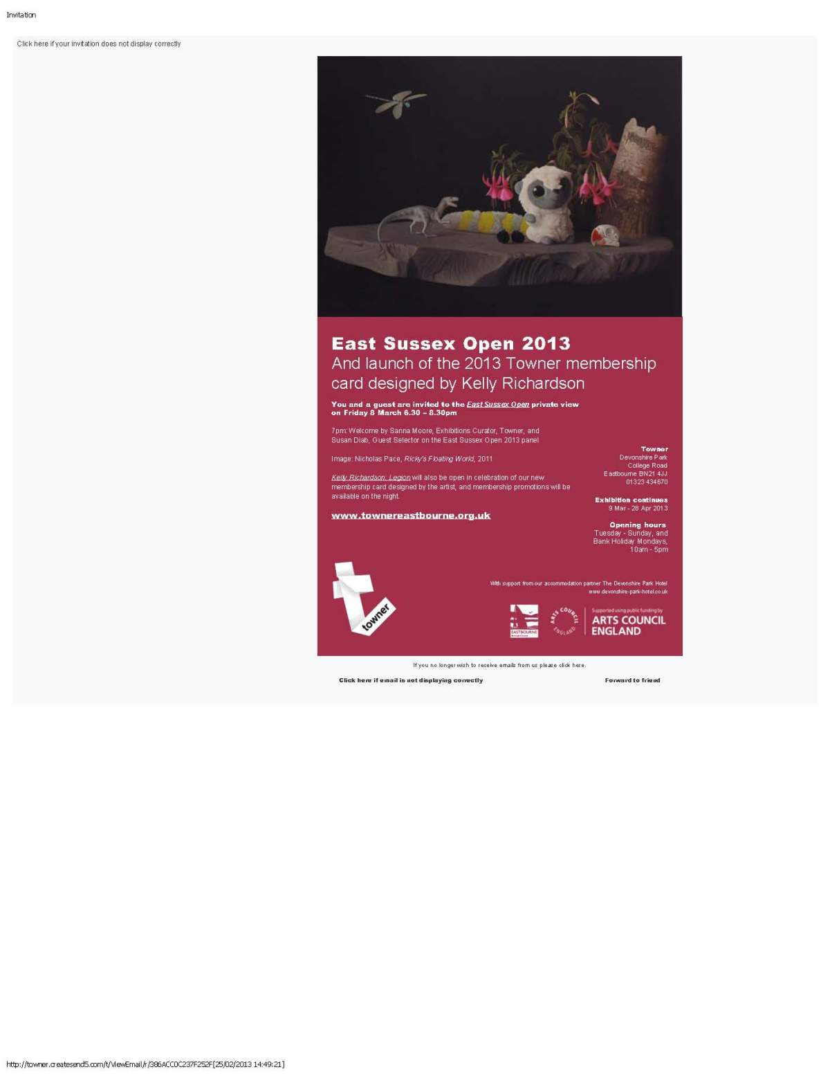 Invitation to private view of East Sussex Open at the TownerGallery